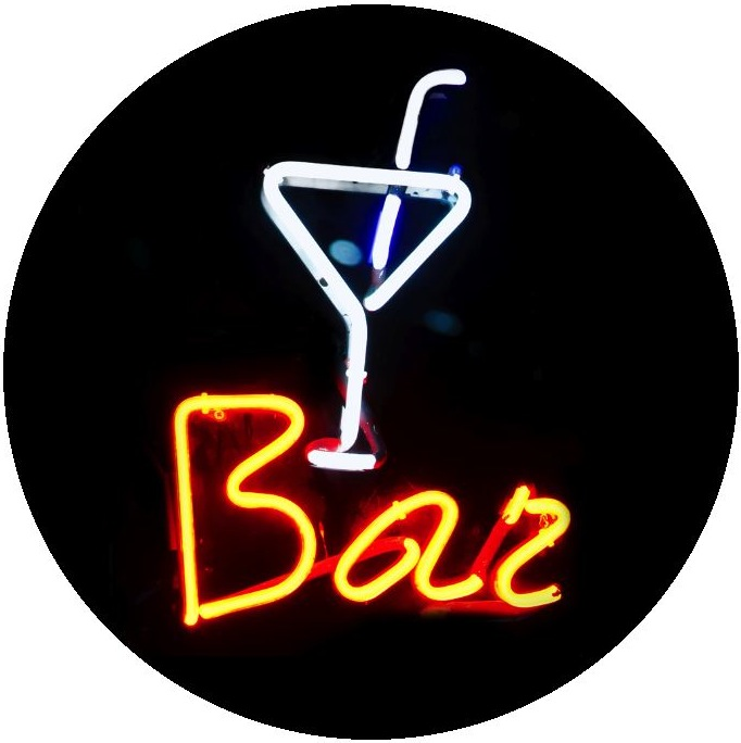 Neon Bar Sign Pinback Buttons and Stickers