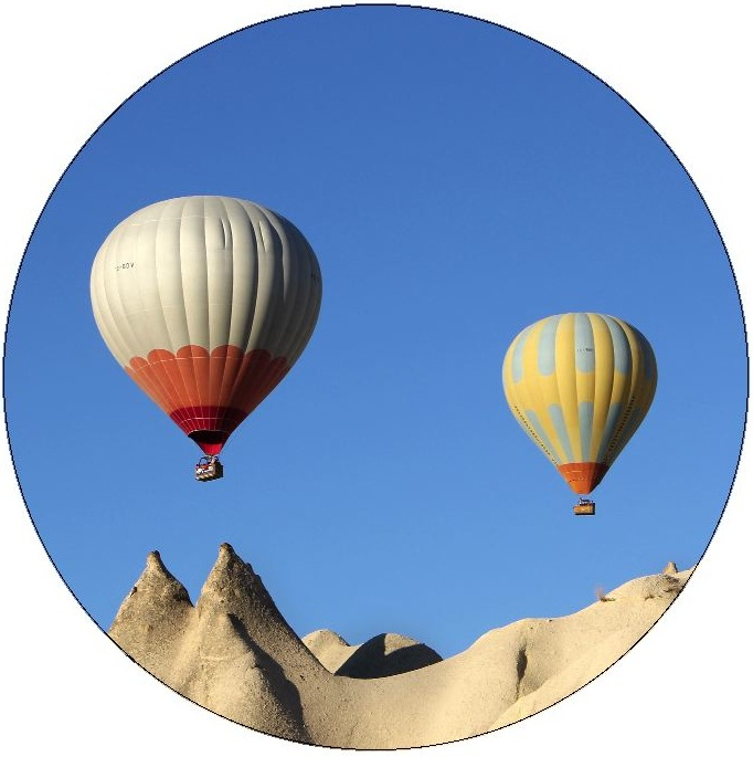 Hot-Air Balloon Pinback Buttons and Stickers