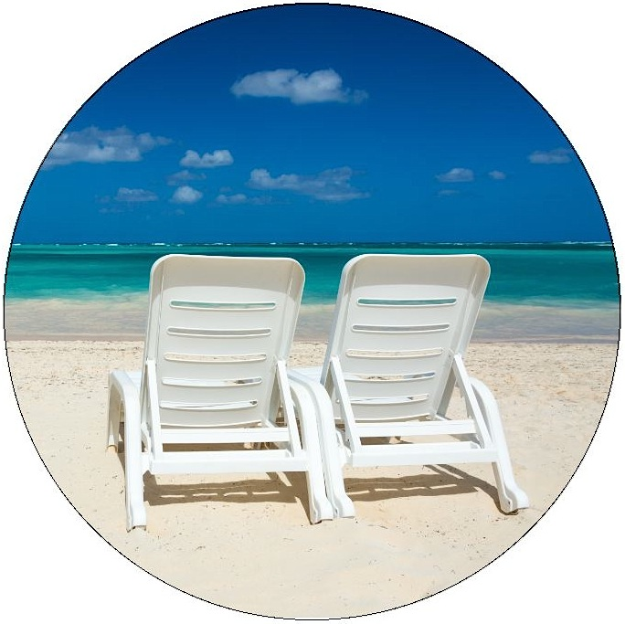 Beach Chairs Pinback Button and Sticker