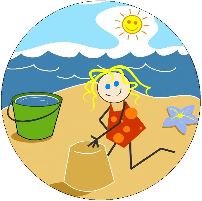 Beach Girl Pinback Buttons and Stickers