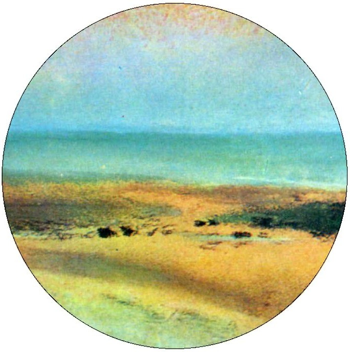 Edgar Degas Beach Pinback Button and Sticker