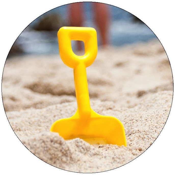 Beach Shovel Pinback Buttons and Stickers