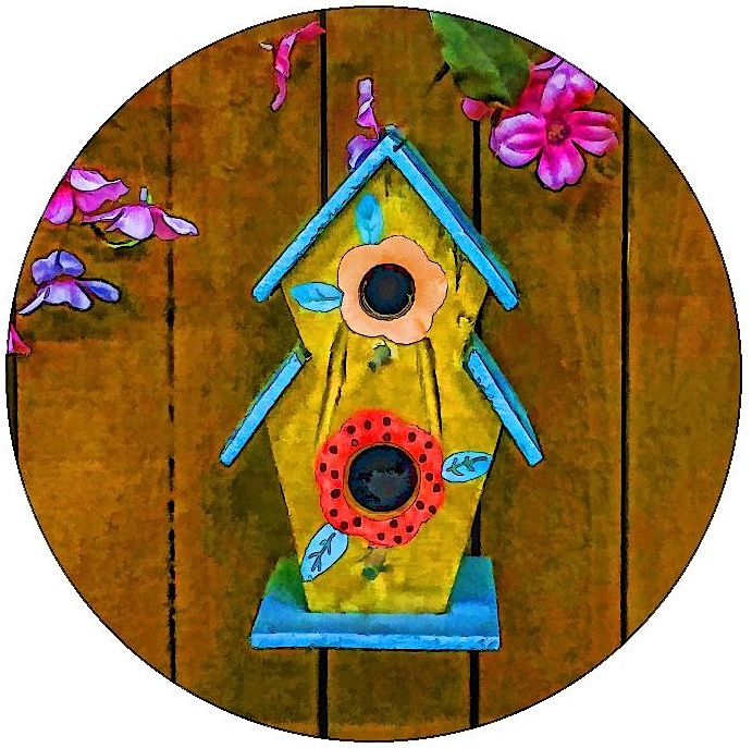 Birdhouse Pinback Buttons and Stickers