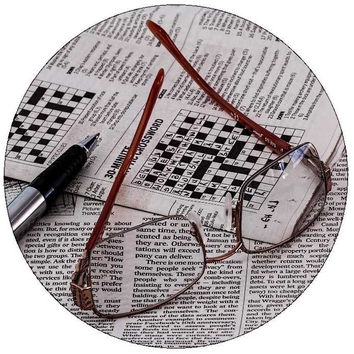 Crossword Puzzle Pinback Buttons and Stickers