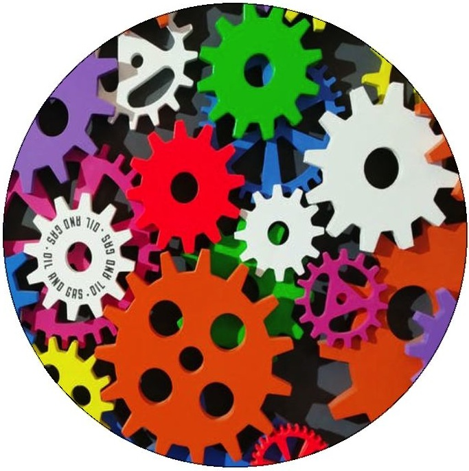 Gears Pinback Buttons and Stickers