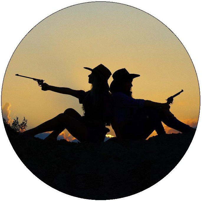 Cowgirls Gun Pinback Buttons and Stickers