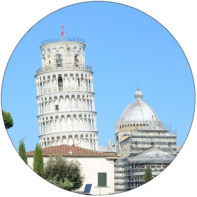 Leaning Tower of Pisa Pinback Buttons and Stickers