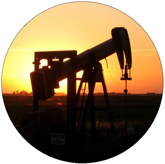 Oil Well Pinback Buttons and Stickers
