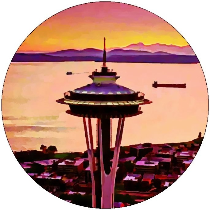 Space Needle Pinback Button and Stickers