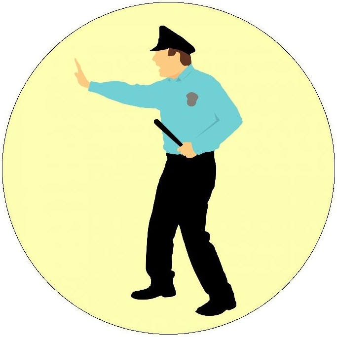Policeman Pinback Button and Stickers