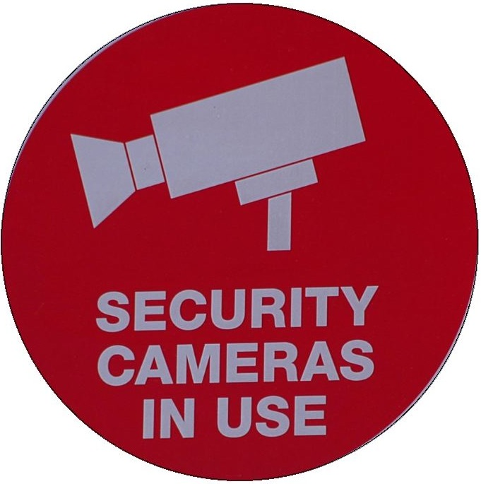 Security Camera Sign Pinback Button and Stickers