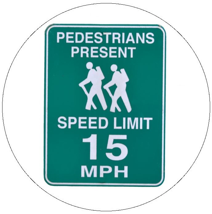 Pedestrians Sign Pinback Button and Stickers