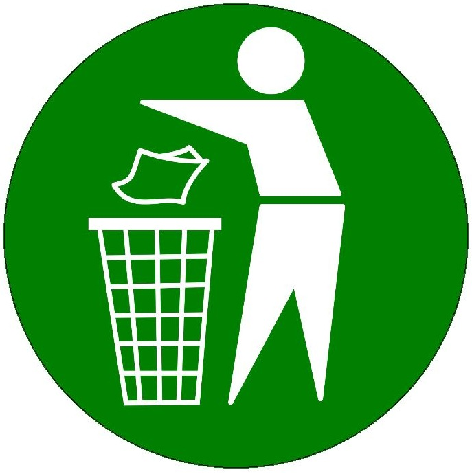 Litter Waste Basket Sign Pinback Button and Stickers