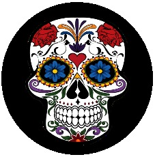 Flower Skull Pinback Button and Stickers