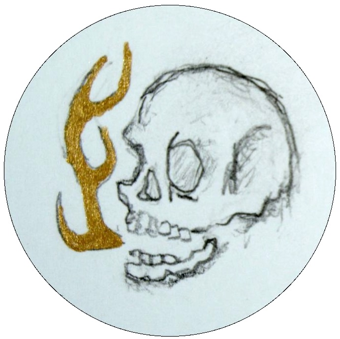 Hand Drawn Skull Pinback Button