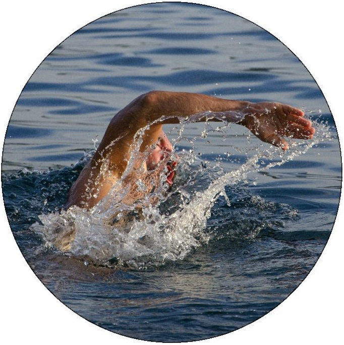 Swimming Pinback Buttons and Stickers