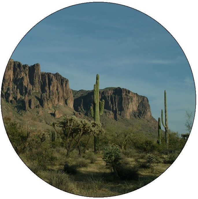 Superstition Mountains Cactus Pinback Buttons and Stickers