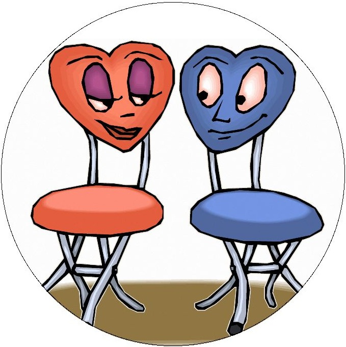 Chair Cartoon Pinback Buttons and Stickers