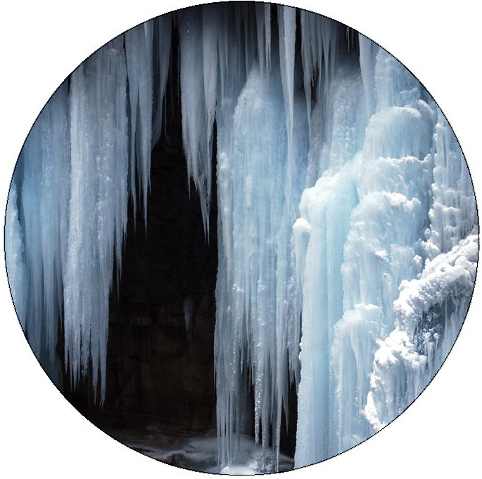 Frozen Waterfall Pinback Buttons and Stickers