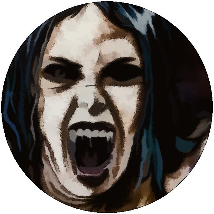 Vampire Face Pinback Buttons and Stickers